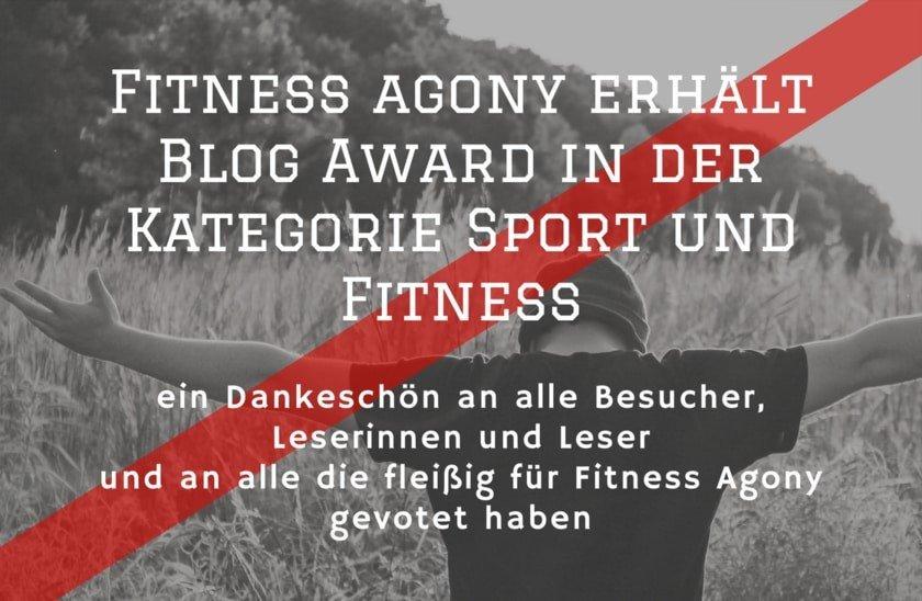 Fitness Agony gewinnt Publikumspreis des Blog Award in der Kategorie Sport und Fitness